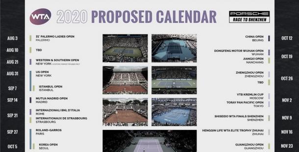 Calendario WTA para 2020 | Foto: WTA