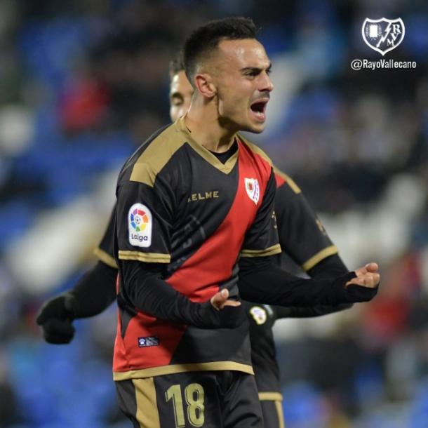 Álvaro celebrando un gol suyo. Fotografía: Rayo Vallecano S.A.D