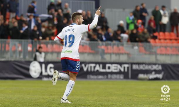 Aitor celebrando el gol. Fotografía: La Liga