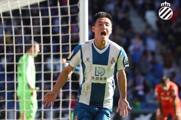 Wu celebrando un gol. Fotografía: RCD Espanyol S.A.D
