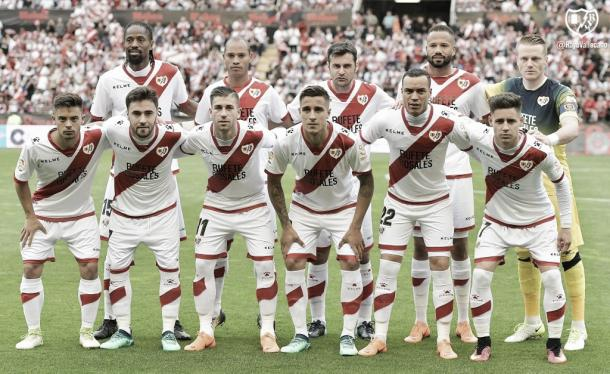 El once inicial que jugó el último partido en Vallecas. Fotografía: Rayo Vallecano S.A.D