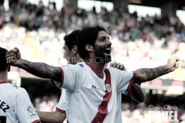 Chori celebrando un gol esta temporada. Fotografía: María Olmo