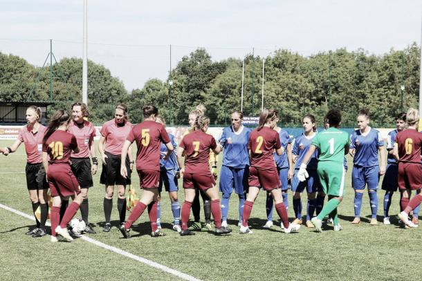 Cardiff Met and Spartak Subotica before kick-off. Phot: Twitter @CardiffMetLFC