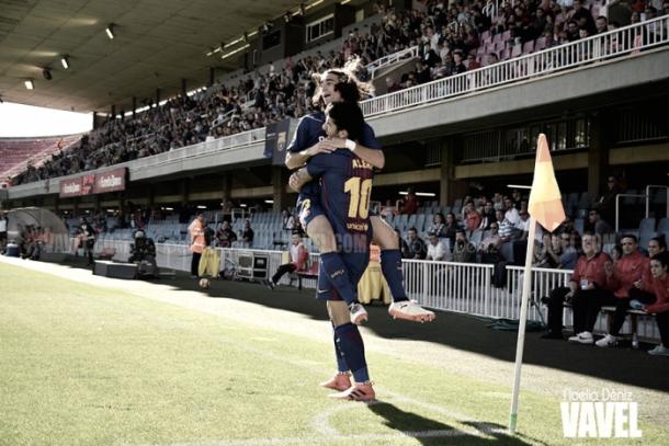 Carles Aleña y Marc Cocurella celebran un gol. Foto: Noelia Déniz, VAVEL.com