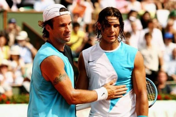 Moya and Nadal at the French Open. Source: Tennis World USA