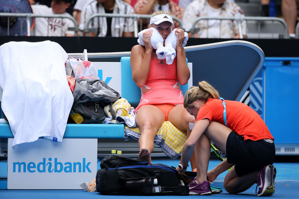 The former world number one receiving some treatment in Melbourne (Photo by Michael Dodge / Getty Images)