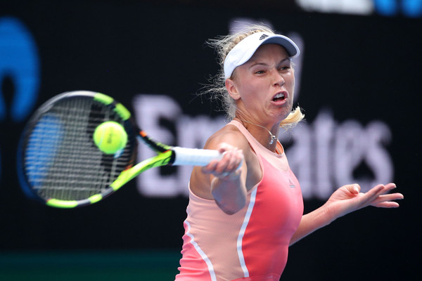 Wozniacki in first round action at the Australian Open against Putintseva (Photo by Michael Dodge / Source : Getty Images)