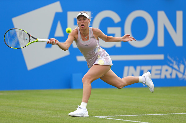 Wozniacki in action at the Aegon International in Eastbourne against Monica Puig (Photo by Steve Bardens / Source : Getty Images)