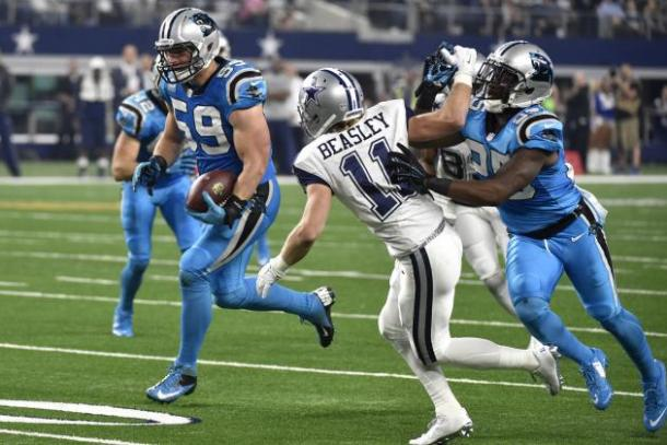 The Panthers were one of the most exciting teams in 2015, led by Luke Kuechly (#59) on defense. (Source: Michael Ainsworth/Associated Press)