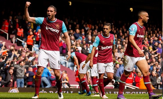 Man of the match Andy Carroll celebrates his third goal. Source: totalsportek