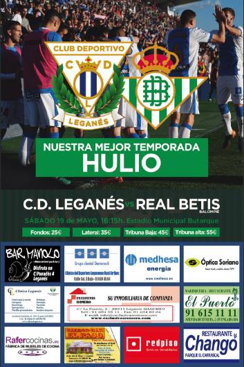 Cartel del CD Leganés - Real Betis