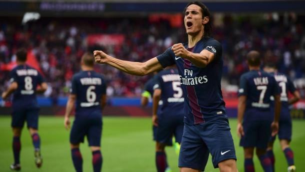Cavani celebrando su doblete ante el Bordeaux / Foto: Paris Saint-Germain