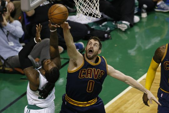 Cleveland Cavaliers forward Kevin Love (0) defending  Boston Celtics forward Jae Crowder (99). Photo:Greg M. Cooper-USA TODAY Sports