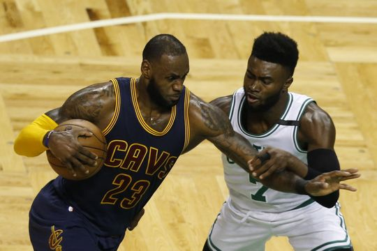Cleveland Cavaliers forward LeBron James (23) drives towards Boston Celtics guard Jaylen Brown (7). Photo:Greg M. Cooper-USA TODAY Sports