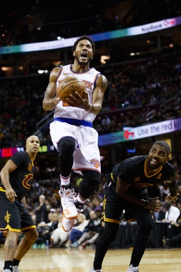 New York Knicks Guard Derrick Rose drives to the basket. Photo Courtesy Rick Osentoski-USA TODAY Sports