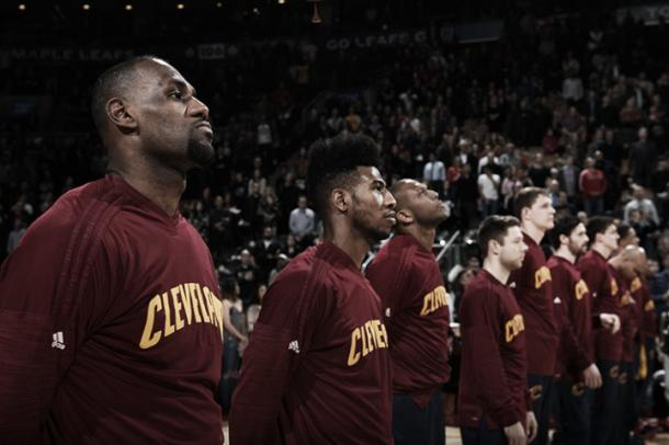 The Cavaliers line up before the start of a game. (Ron Turenne/NBAE/Getty Images)