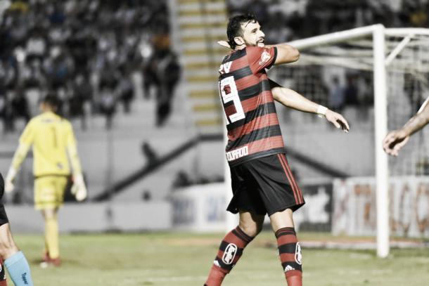 O autor do gol decisivo em sua comemoração tradicional. Foto: Staff Images/Flamengo