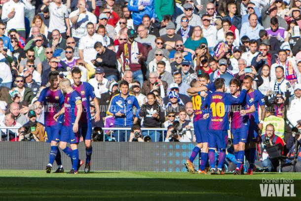 Los azulgranas celebrando uno de los goles en Madrid / Foto: Daniel Nieto (VAVEL.com)