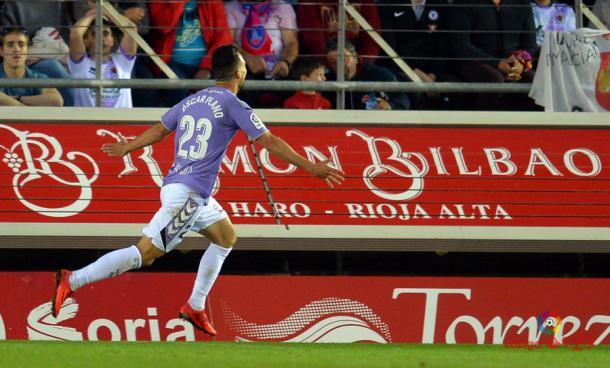 Óscar Plano celebrando su gol | Foto: laliga.es