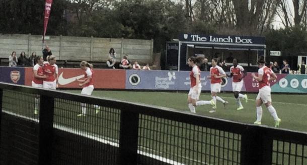 Arsenal celebrate Smith's opener.