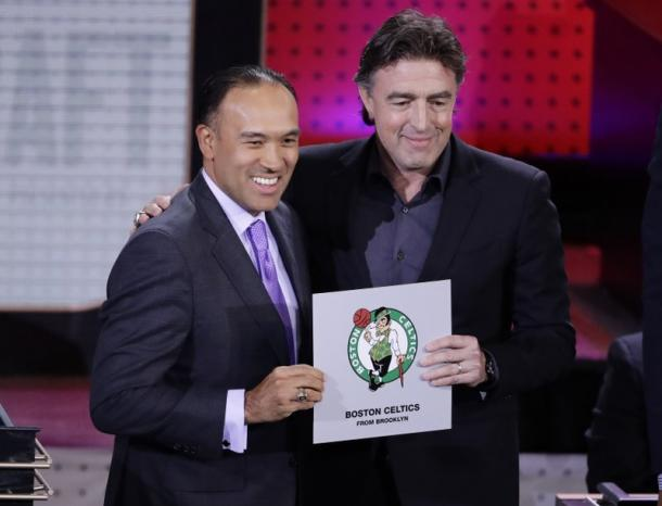 NBA Deputy Commissioner Mark Tatum (left) with Celtics co-owner Wyc Grousbeck (right) at Tuesday's draft lottery. Photo: AP Images