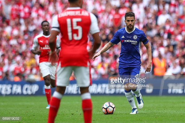 Cesc Fabregas in action against his former club, Arsenal, in the 2017 FA Cup Final. (Source: Robbie Jay Barret/AMA/Getty Images).