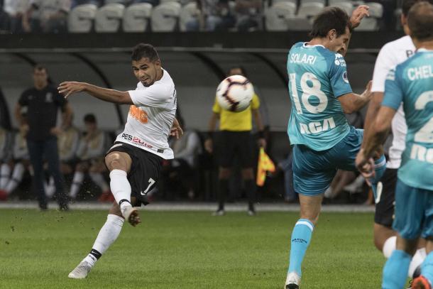 No jogo de ida contra o Racing, o Timão saiu atrás do placar o buscou o empate na Arena. (Foto: Daniel Augusto Jr. / Agência Corinthians)