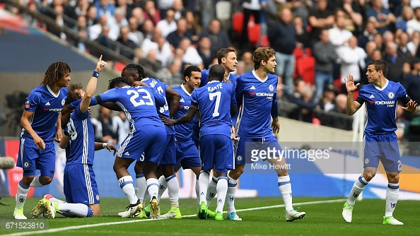 Chelsea celebrate the opening goal of their 4-2 victory over Tottenham back in May. (Source: Mike Hewitt/Getty Images)