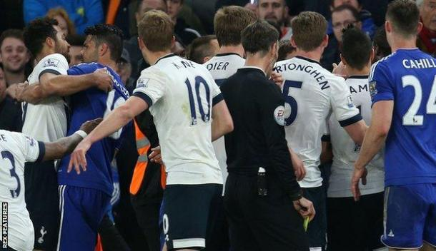 Via BBC. Tensions between Chelsea and Tottenham boiled over.