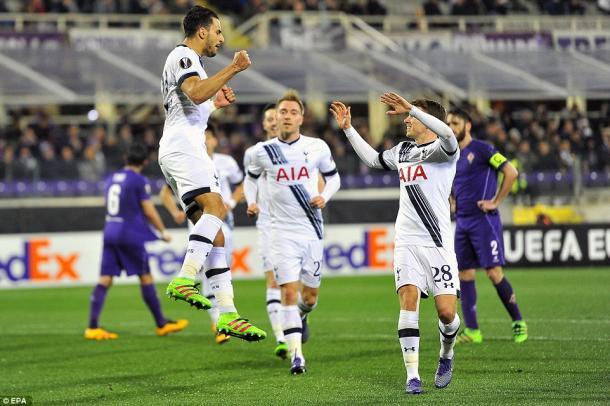 Nacer Chadli celebrates scoring his penalty last week (photo: EPA)