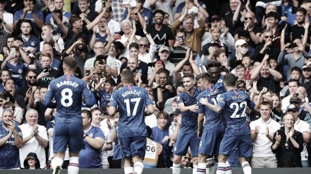 El Chelsea celebra el primer gol./ Foto: Premier League