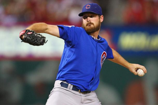 Travis Wood pitches for the Chicago Cubs during the 2016 Season- Chicago Tribune