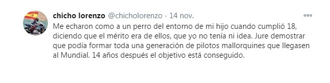 Tweet de Chicho Lorenzo. Foto: twitter.com