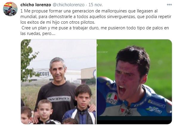 Tweet de Chicho Lorenzo, junto a un pequeño Joan Mir en la foto. Foto: twitter.com