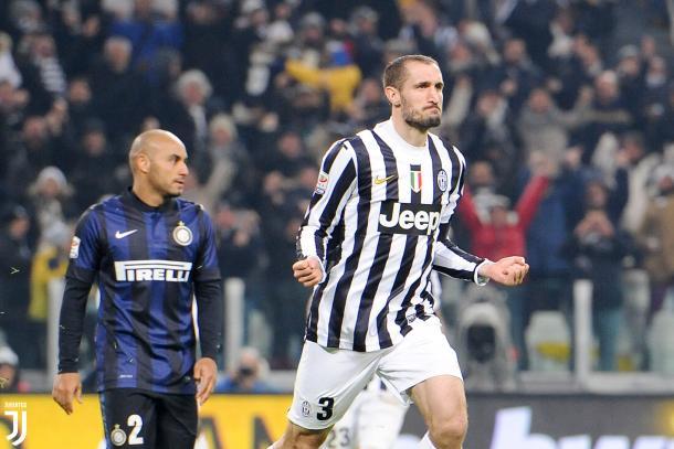 Giorgio Chiellini festeggia un goal contro i neroazzurri / JuventusTwitter