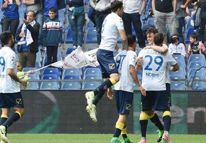 I clivensi esultano dopo il gol di Inglese che firma l'1-1 con la Sampdoria. | performgroup.com