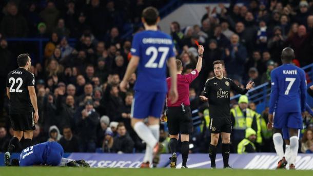 El Leicester se quedaba con un hombre menos. Foto: premierleague