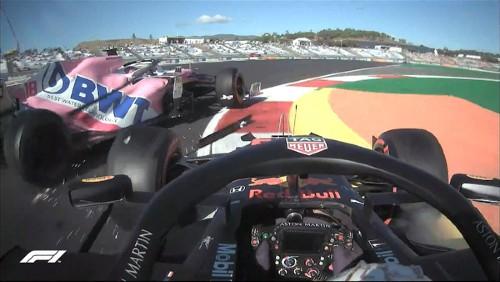 Choque entre Stroll y Verstappen. Foto: F1