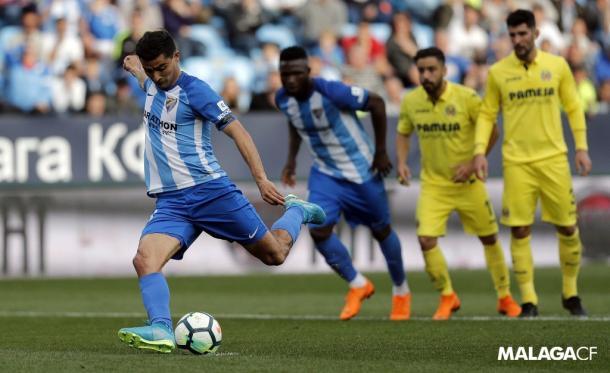 El uruguayo anotó de penalti el gol de la victoria ante el Villarreal / Málaga CF