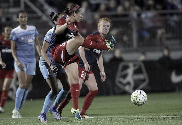 Church attempting to clear the ball as they compete against Sky Blue FC. Photo: Washington Spirit