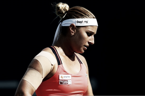 "Getty Images: Cibulkova ""a study in concentration""."