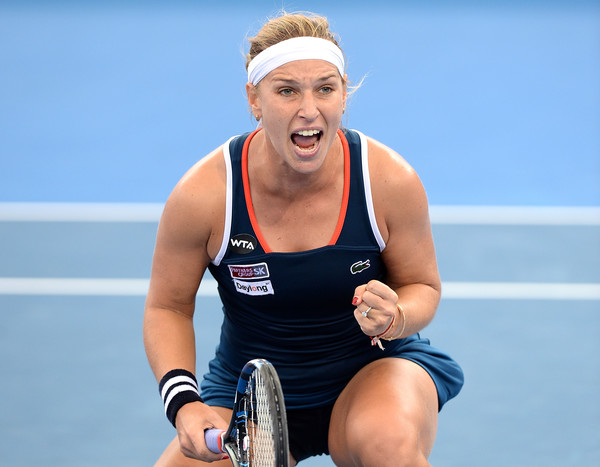 Cibulkova shows her emotion after her victory over Zhang Shuai (Photo by Bradley Kanaris / Getty Images)