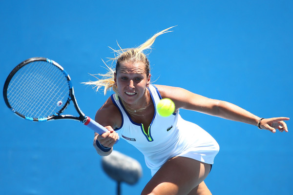 Cibulkova competing in her first round match with Kristina Mladenovic at the Australian Open (Photo by Jack Thomas / Getty Images)