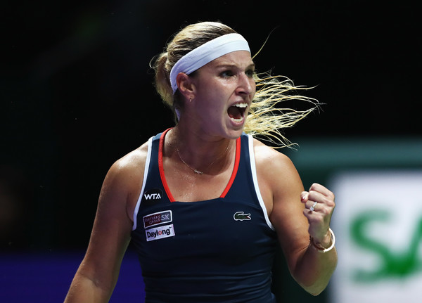 Cibulkova celebrates a point in her match with Kerber (Photo by Julian Finney / Getty Images)