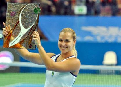 Cibulkova with the Katowice Open trophy (Source : Katowice Open)