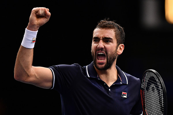 Cilic celebrates during his match with Goffin in Paris (Photo by Dan Mullan / Getty Images)