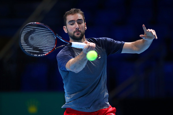 Cilic practising ahead of the ATP World Tour Finals (Photo by Clive Brunskill / Getty Images)