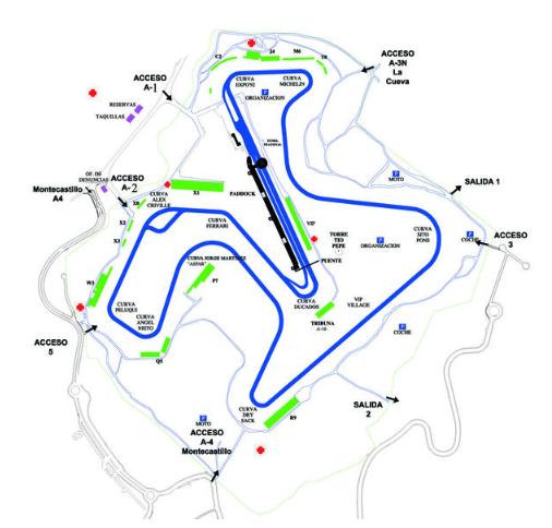 Plano del Circuito de Jerez - Ángel Nieto.   Foto:circuitodejerez.com