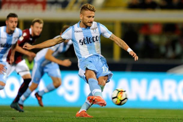 Immobile disparando con la elástica de la Lazio  Getty Images