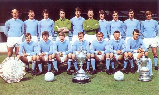 Manchester City en 1968, tras ganar la Fist Division, la FA Cup y la Community Shield. Foto: Archivo.